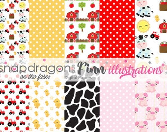 Barnyard Digital Papers, On the Farm Digital Papers, Cow Papers, Tractor Papers, Pig Papers, Barn Papers - Commercial License Included