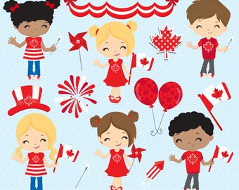 Canada Day clip art, Canada Day Papers, Canadian clip art, Canadian Flag, Maple Leaf clip art, Canadian kids - Commercial License Included