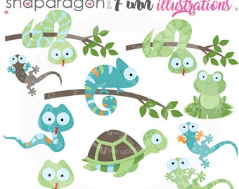 Reptiles clipart, Amphibian clipart, frog clipart, turtle clipart, lizard clipart, chameleon clipart, snake Commercial License Included