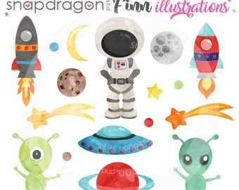 Space clipart,  Outer Space clipart, spaceship clipart, astronaut clipart, alien clipart, planet clipart - Commercial License Included