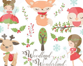 Christmas Woodland Wonderland Clip art, Christmas Clip Art, Christmas Forest Clipart, Christmas Fairy Clip Art, Commercial License Included