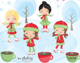 Girl Skating Clipart, Christmas clipart, winter clipart, skating clip art, digital illustrations, vectors, Commercial License Included
