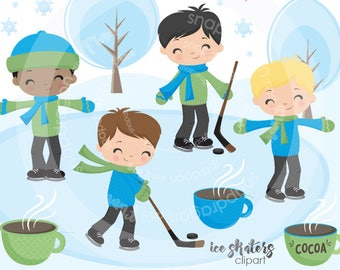 Boy Skating Clipart, hockey clipart, winter clipart, skating clip art, digital illustrations, vectors, Commercial License Included