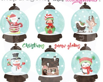 Christmas Snow Globe clipart, Christmas clipart, Watercolor Christmas clipart, Christmas ornament - Commercial License Included