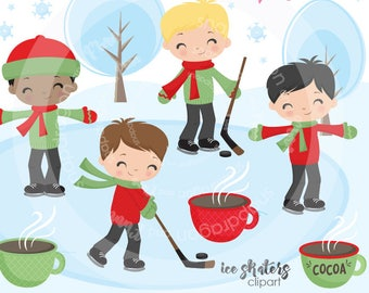 Boys Red Skating Clipart, winter clipart, hockey clipart, skating clip art, digital illustrations, vectors, Commercial License Included