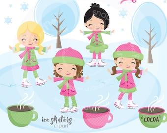 Pink Skating Clipart, Girl Skating Clipart, winter clipart, skating clip art, digital illustrations, vectors, Commercial License Included