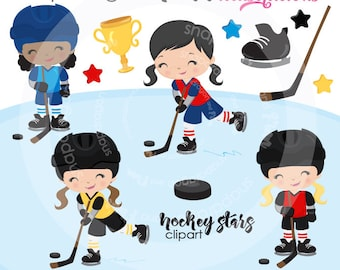 Girls Hockey clipart, winter clipart, girl hockey players clipart, skating, digital illustrations, vectors, Commercial License Included
