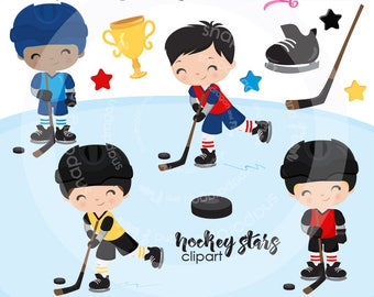 Hockey clipart, winter clipart, skating clipart, hockey players clipart, digital illustrations, vectors, Commercial License Included