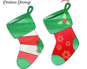Watercolor Christmas Stockings clip art, Christmas clip art, digital illustration, Commercial License Included