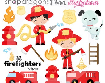 BUY5GET5 Firefighter Clipart, Firefighter Boys Clipart, Firetruck Clipart, Fireman Clipart, illustration, vector images,