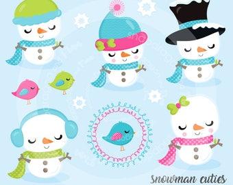 Snowman clipart, winter clipart, cute snowman clip art, snowmen clip art, digital illustrations, vectors, Commercial License Included