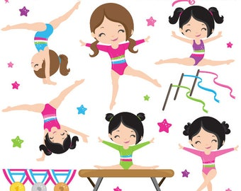Gymnastics Clipart, Gymnast Clip Art, Tumbling Clipart, Trampoline Clip Art, Commercial License Included