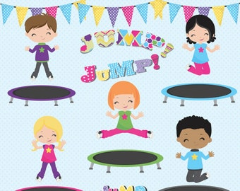 Trampoline clipart, Trampoline Party clipart, Jump clipart, Trampoline clip art, Trampoline kids clipart, Commercial License Included