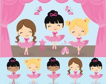 Ballet Clipart, Ballerina Clipart, Dance Clipart,  Vector Ballet Clipart,  Ballet DIgital Papers, Commercial License Included