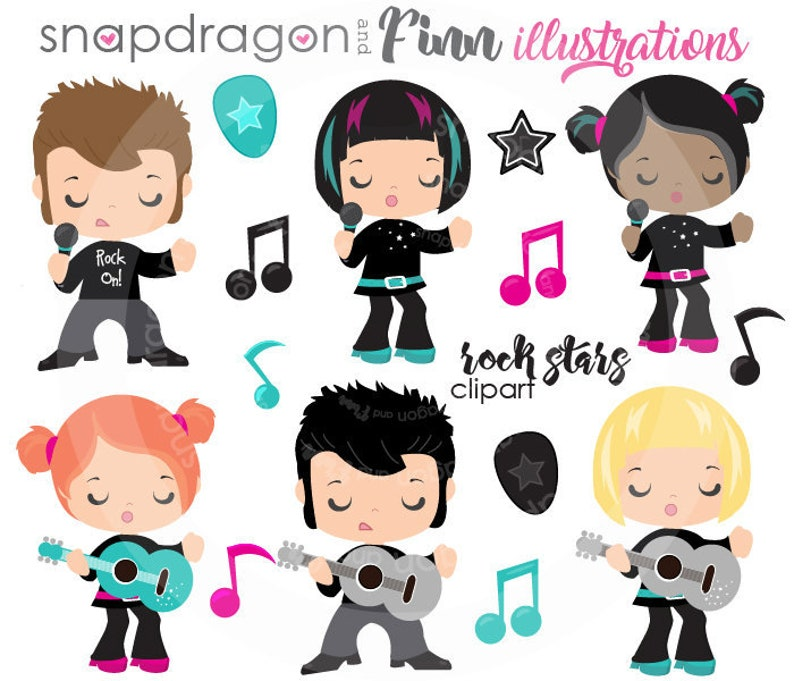 BUY5GET5 Rock Stars Clip art, Karaoke clip art, Music clip art, singing  girl image, singing boy image, vector images,