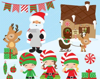 Christmas clipart, Santa clipart, Elf clipart, Reindeer clipart, Rudolph, Santa, North Pole, Christmas Paper, Commercial License Included