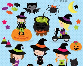 Halloween Witch clipart, Halloween clipart, Cute Witch clipart, Halloween Girls clipart, Halloween, Commercial License Included