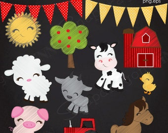 Barnyard Chalkboard clipart, Farm clipart, Barnyard Clipart, Farm Animal, Cowhide Paper, Chalkboard Frame, Commercial License Included
