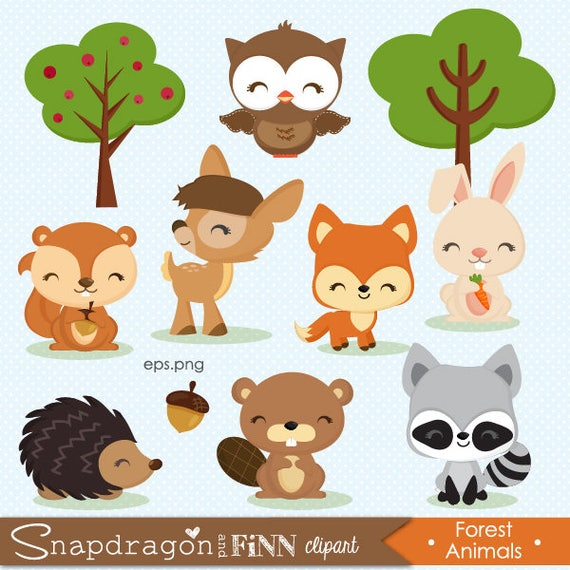 woodland clipart forest animal clipart baby animal clipart etsy rh etsy com forest animal clipart winter forest animals clipart