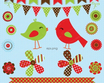 Christmas Clipart, Bird Clipart, Cardinal Clipart, Christmas Flowers, Christmas Papers, Christmas Bunting, Commercial License Included