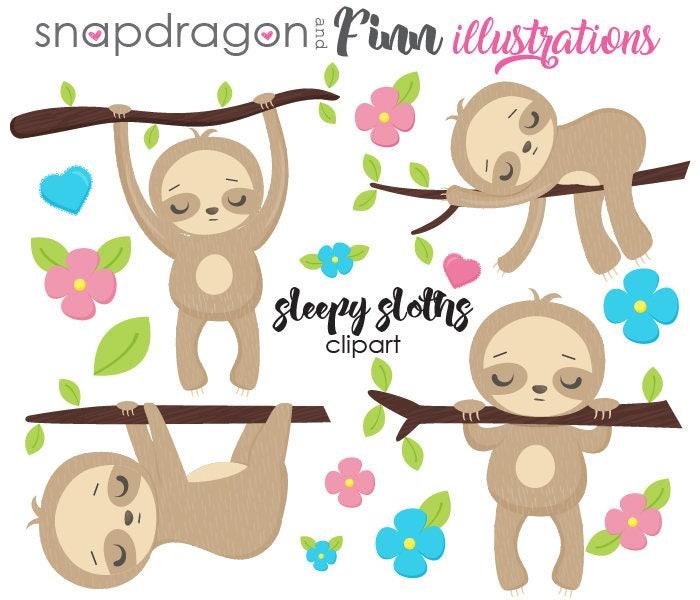 Sloth clipart cute sloth clip art sloth party kawaii | Etsy