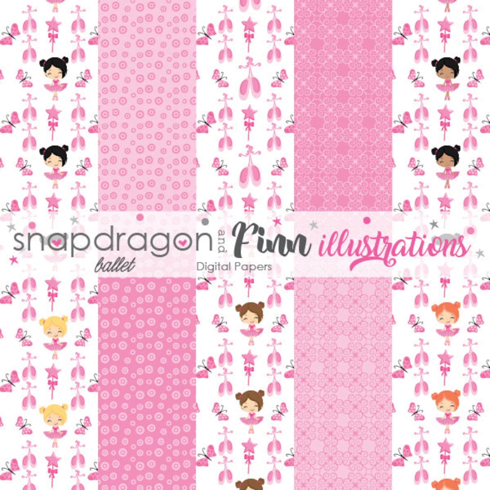 ballet digital papers, ballet girls digital papers, pink ballet papers, ballerina papers - commercial license included
