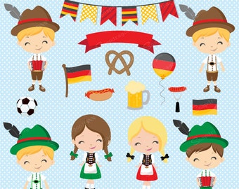 Octoberfest clipart, German clipart, German kids clipart, Cute Octoberfest clipart, Octoberfest graphics, Commercial License Included
