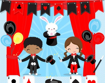 Magic clipart, Magic Show clipart, Magician clipart, Magic Boy, Magic Girl, Magic Party, Magicians, Commercial License Included