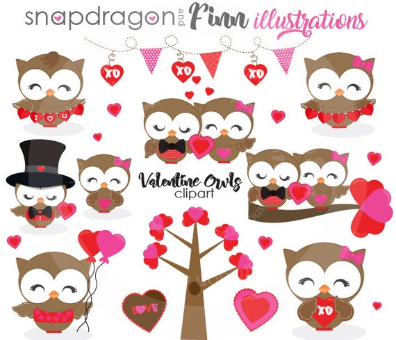 Valentine Owls Clipart | Huckleberry Hearts