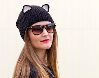 c5858121d5a Knit cat hat Black ear beanie Realistic cat ears Adult animal hat Crochet cat  ears Unisex animal beanie Animal bonnet Funny hats trendy