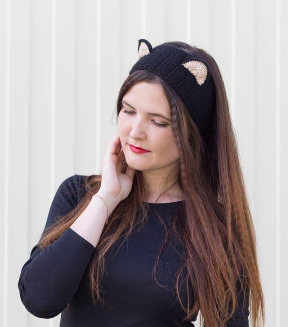 Gehaakte Kat Oor Hoofdband Kat Oor Warm Zwart Katje Spelen Etsy