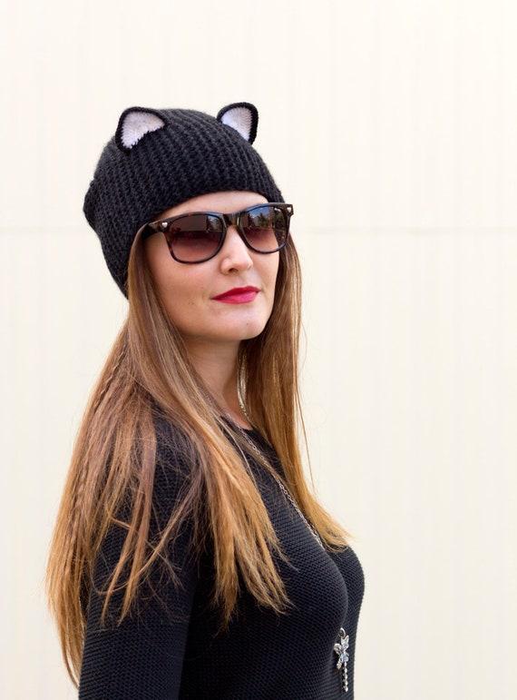 Stricken Sie Hut Schwarz Ohr Mütze Realistische Katze Etsy