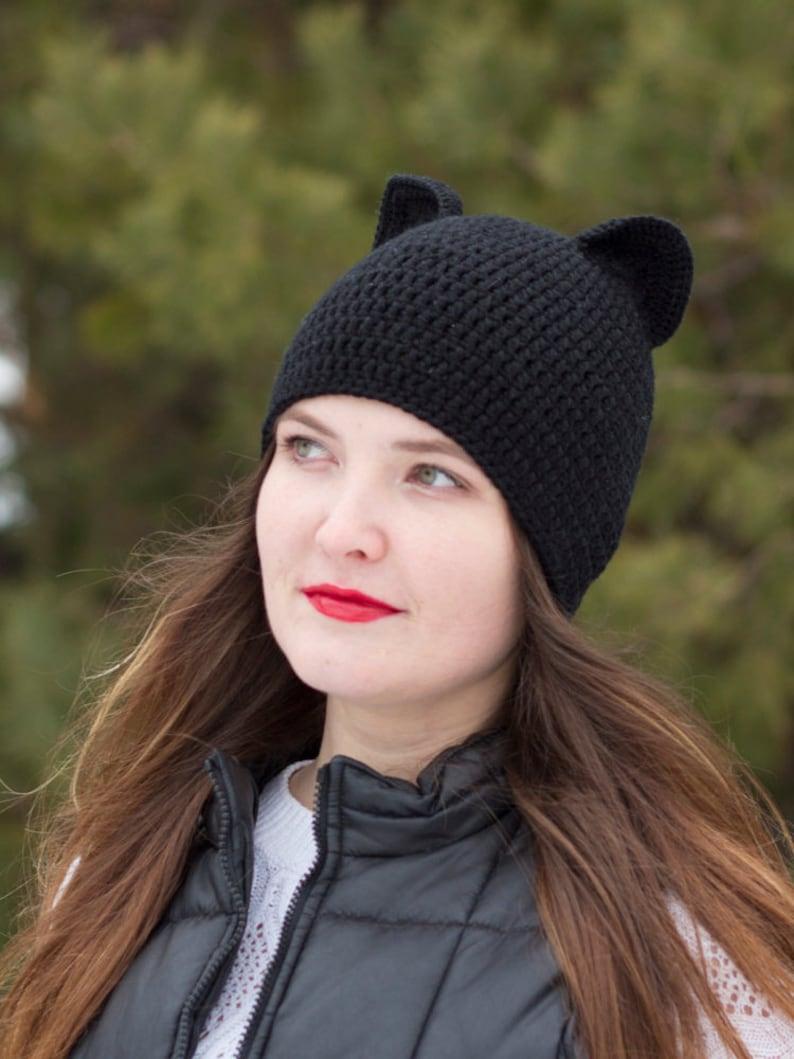966ee0e47cb Cat ear beanie Black cat ear hat Knit hat woman Realistic cat