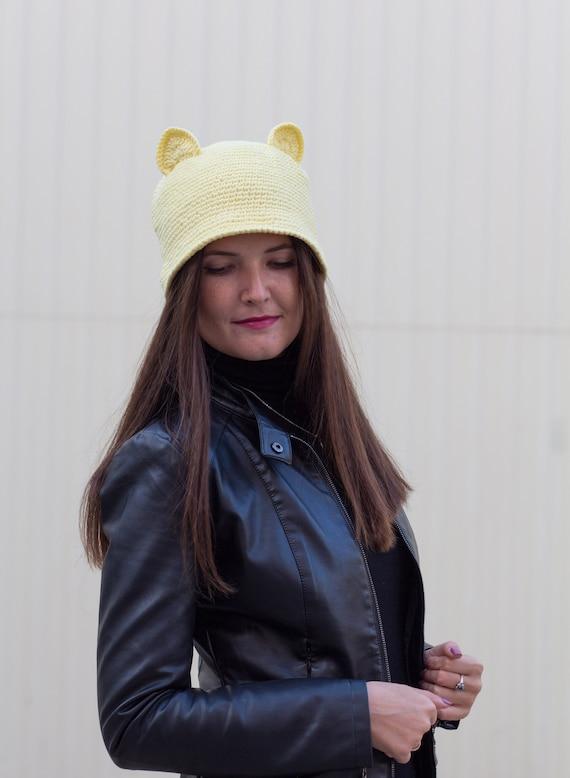e7c1efc0200 Cat ear cap Summer cat hat Yellow hat animal Crochet cotton