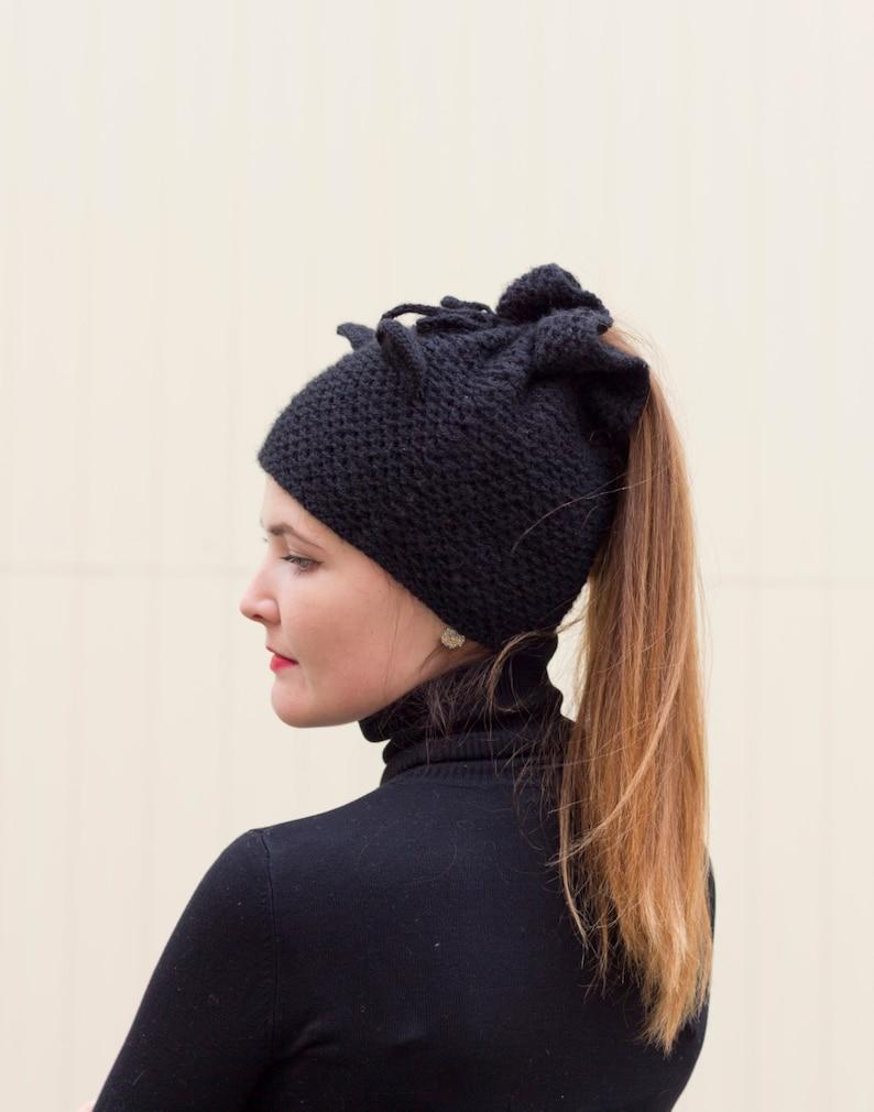 dd111e7b7a8 Ponytail knit hat Cat ear beanie Black messy bun hat Beanie