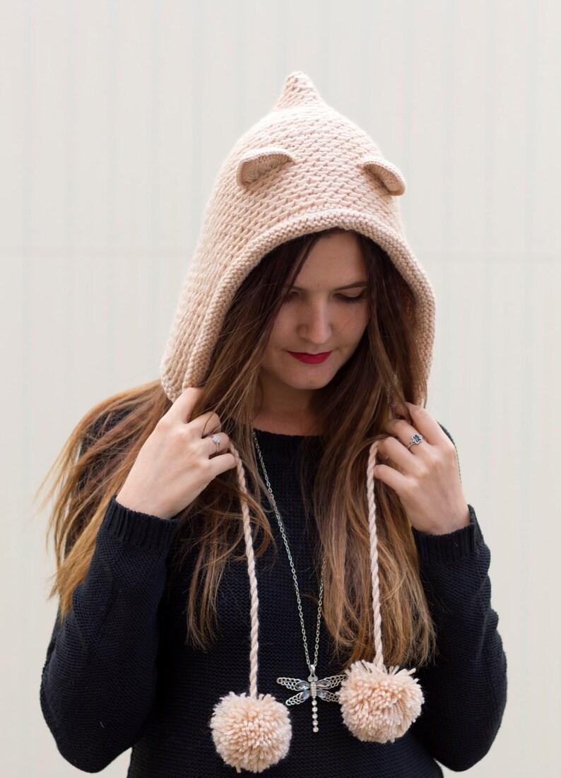7740686a91d Hood hat Knit cat ear hood Beige woman hoodie Adult pompom