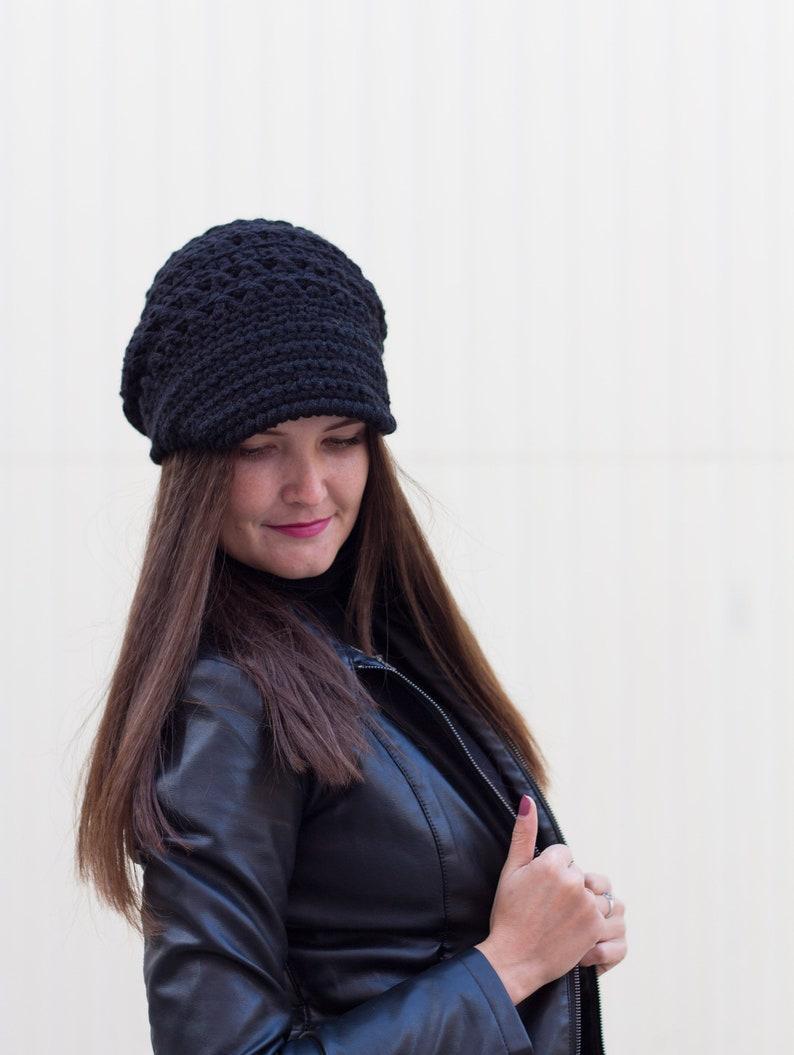 e3d64974922a16 Newsboy crochet cap Black knit visor hat Womens brim beanie | Etsy