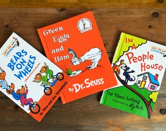 Vintage Dr. Seuss Books/Bears on Wheels/In a People House/Green Eggs and Ham/Three Children's Books/Kid's Illustrated Hardcover Books