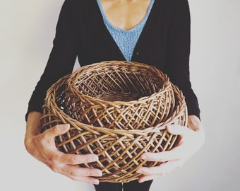 ON HOLD Open Criss Cross Weave Rattan Basket/Round Woven Wicker Baskets/Nesting Baskets/Large Storage Basket/Set of 2/Farmhouse French Decor