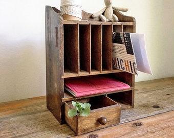 Murale bois Bureau Mont Mail organisateur/Mail Bureau fente/Cubby trou/petit Vintage de bureau en bois Français haut organisateur/Mail trieur