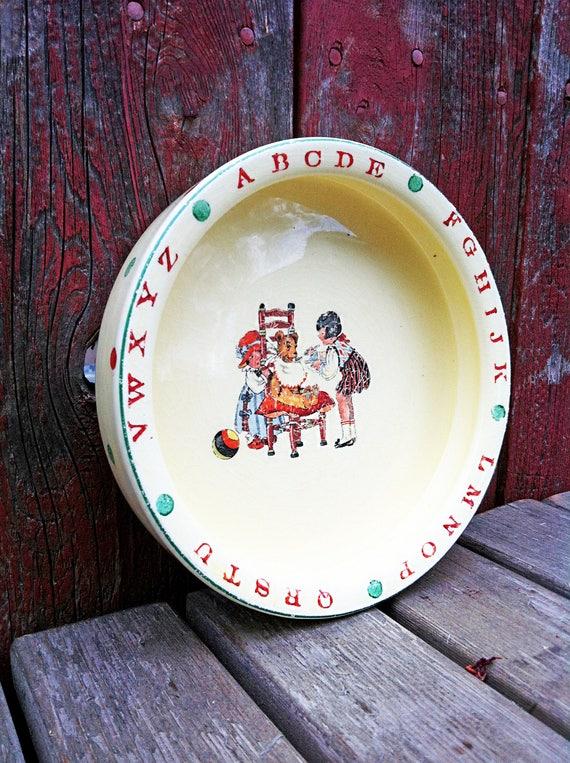 & Vintage Ceramic Baby Bowl/Crown Potteries Bowl/Alphabet Baby