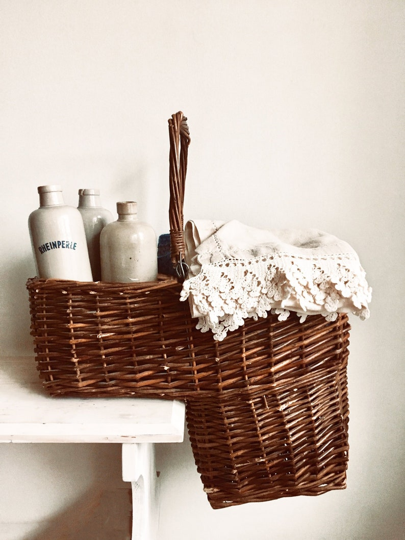 Ordinaire Vintage La Vannerie Antan Woven Wicker Stair Step Basket/French Basket W  Carry Handle/L Shape Stairway Country Willow Storage Organizer