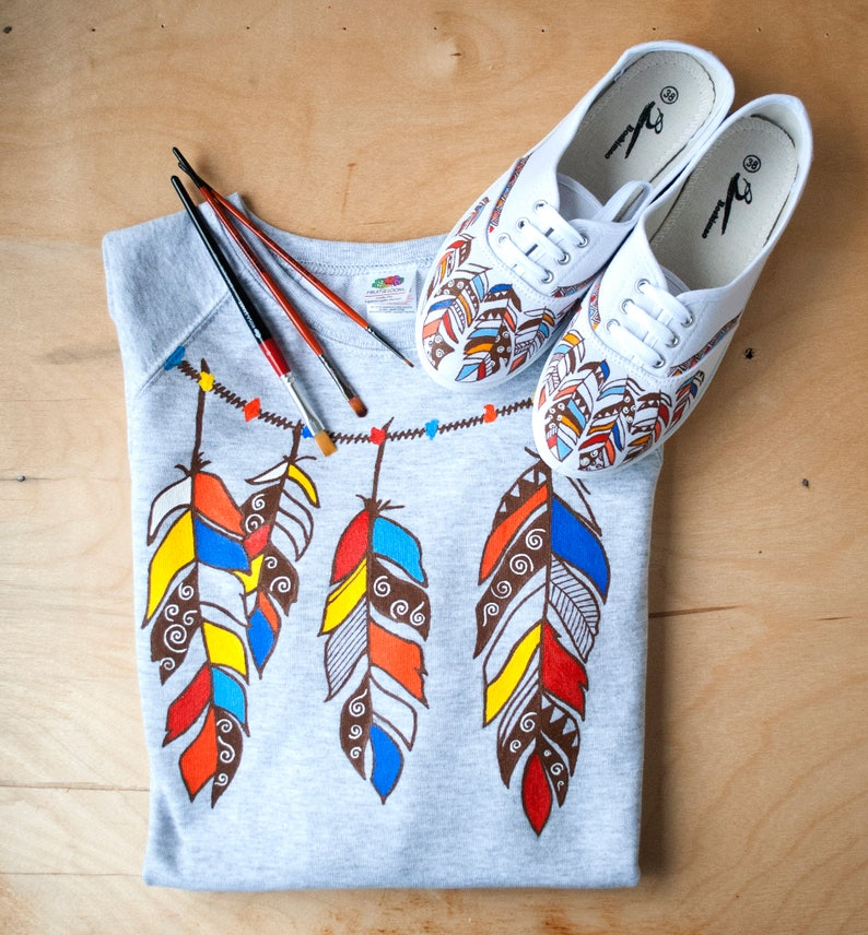 Hand drawn set of 3 hand drawn sneakers shirt with feathers sweathirt wild best gift for girlfriend