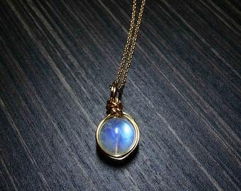 Genuine moonstone-Rainbow moonstone-Blue moonstone-Moonstone charm-moonstone necklace-natural moonstone jewelry-june birthstone-gift for her