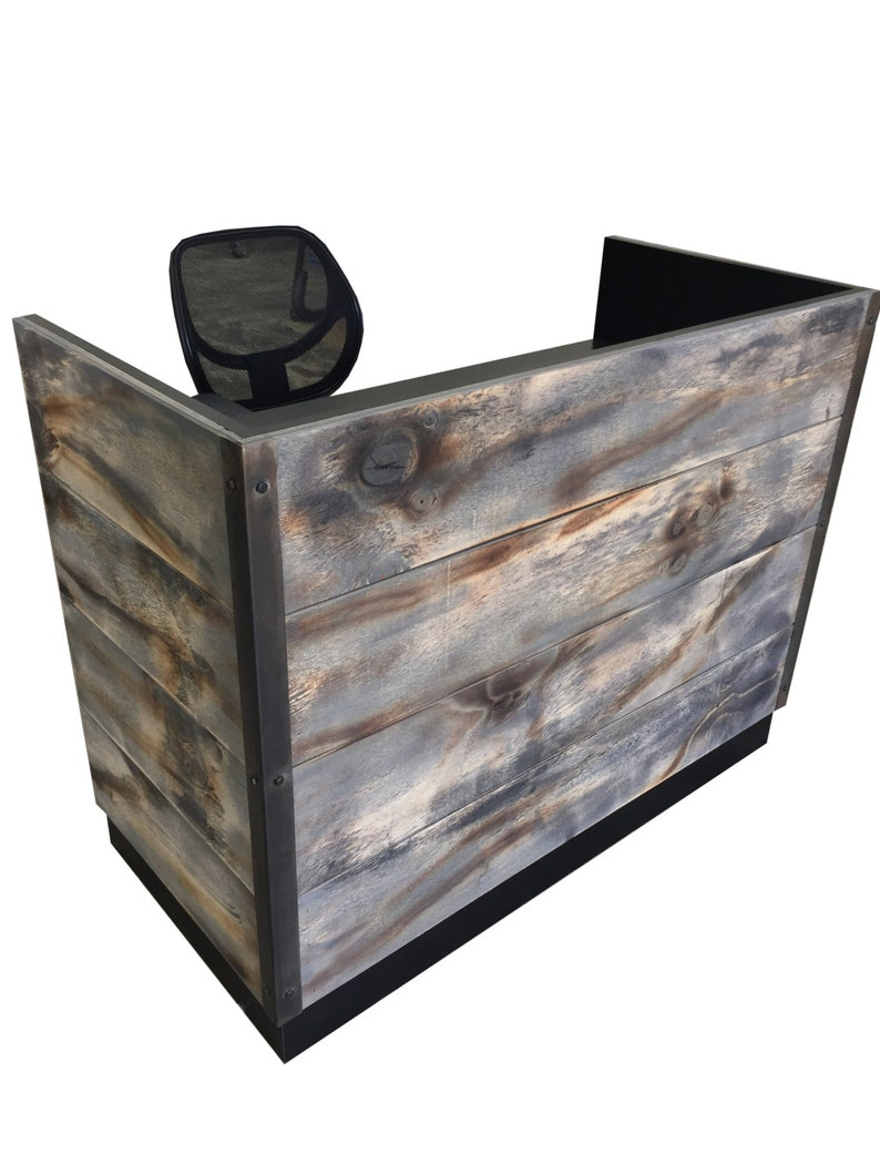 Distressed Weathered Wood Plank Reception Desk IN STOCK