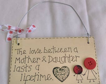 Mother and Daughter handmade plaque