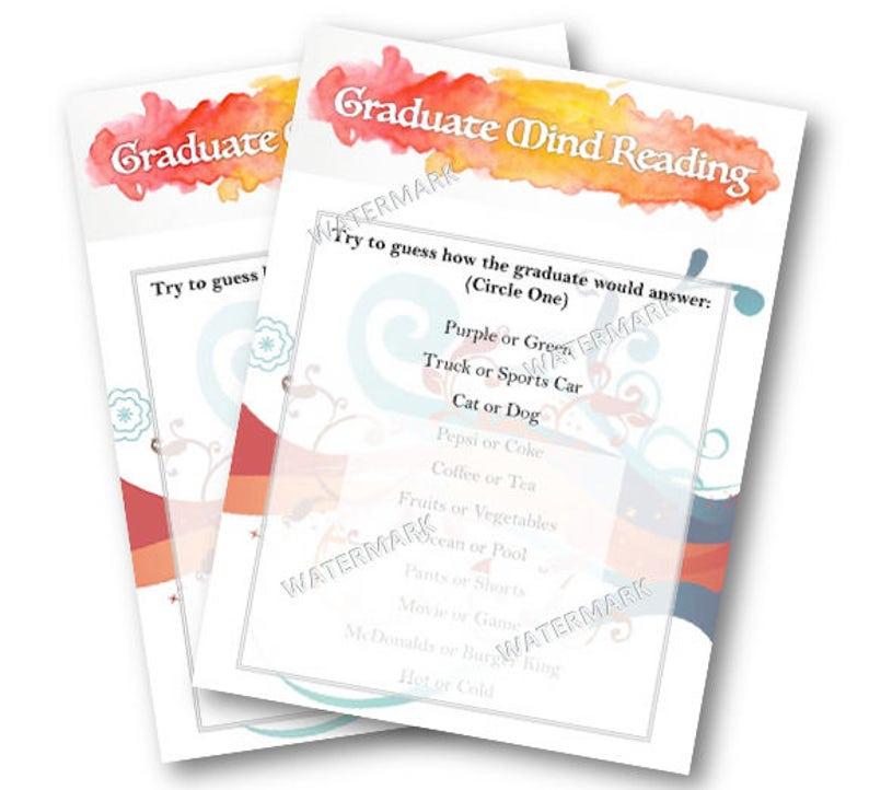 Instant download Printable Graduation Games - Graduate Mind Reading - grad  party games, high school party
