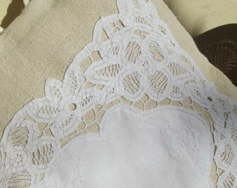 Vintage French handmade cushion pillow cover, vintage lace doilie on soft vintage flour sack fabric, linen fold-over back