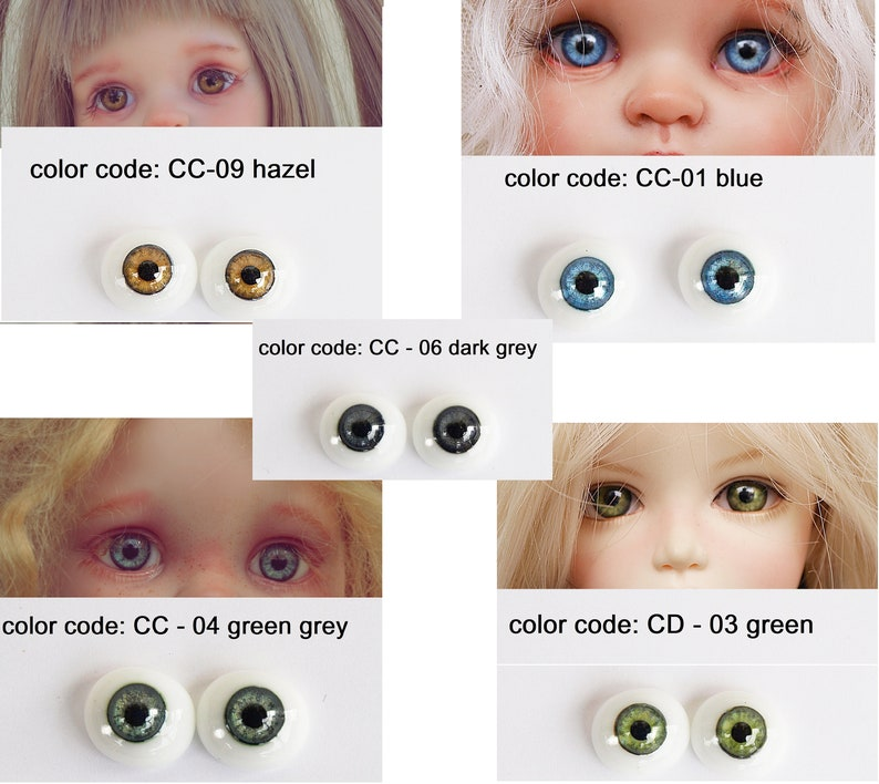 24 MM Green Grey  Glass Pabol  Doll EyesFAST SHIPPING TO USA