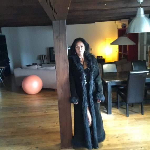Black Suede Maxi Coat with Fake Fur Lining
